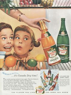 1955 Canada Dry Ginger Ale Orange Soda Pop Ad Vintage Cola Advertisement Children Refrigerator Photo Print Mid Century America Wall Art