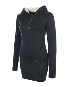 black long length knitted jumper dress with front pocket, fleece lined hood and thumb holes in sleeves.