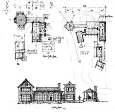 Architecture Drawings, Amazing Architecture, Architecture Design, Architect Drawing, Villa, Architectural Sketches, Witch Aesthetic, Sketch Drawing, Frame It