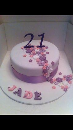 21st cascading flower cake x
