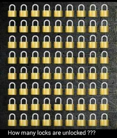 Brain Teasers, How Many Locks Are Open? Brain Twister Games, Brain Games, Brain Teasers With Answers, Brain Teasers Riddles, Riddles With Answers, Funny Illusions, Cool Optical Illusions, Riddle Puzzles, Logic Puzzles