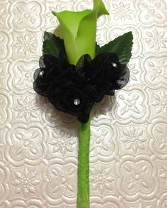 Lime Green and Black Wedding Boutonniere Real by BlissfulPetals, $12.00