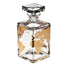 Shop the Atlas Spirit/Whisky Decanter by Vista Alegre, handcrafted in Portugal from lead crystal & decorated in gold with a world map, a great gift idea. Birthday Present For Husband, Whiskey Decanter, Whiskey Bottle, Crystal Decanter, Bar Accessories, Gold Paint, Barware, Drinkware, Perfume Bottles