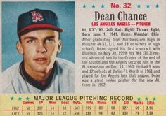 post cereal baseball cards     1963 stuart | The Trading Card Database | Dean Chance Gallery