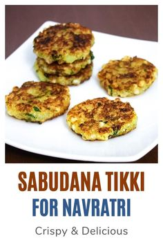 Sabudana tikki recipe - It is made during Hindu fast or vrat or upvaas like Navratri, ekadasi, maha shivratri or gauri vrat.  The main ingredients are sabudana and potato just like the sabudana vada. But the taste and flavor is very different.  These sabudana tikki are slightly crispy from outside and very soft from the inside. But as it cools, it loses its crispness. Sabudana Vada, Indian Food Recipes, Ethnic Recipes, Chutney, Salmon Burgers, Spice Things Up, Potato, The Best, Curry