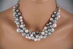 Pink and gray cluster chunky bridesmaids necklace,  Bridesmaids jewelry.  Wedding necklace. $28.00, via Etsy.