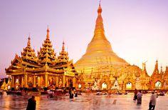Admire the Shwedagon Pagoda in Rangoon, Burma.