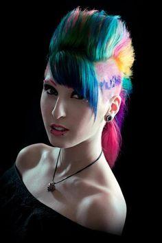 Rainbow mohawk with fringe chelsea hawk