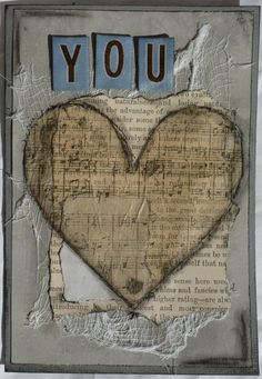 Mixed media card Layers of paper, tissue paper, cheesecloth.  Featured in Scrapbook News and Review
