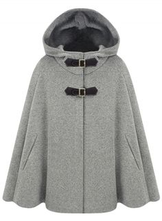 Women's Winter Wool Blend Hooded Cape Cloak Coat AZBRO.com