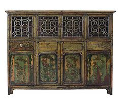 Chinese Vintage DongBei Kitchen Dining Room Curio Cabinet Acs1297 ** Click for Special Deals #AntiqueChinese