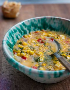 A delicious, simple corn soup recipe with a touch of smokiness & the rich flavor of fresh corn on the cob! Corn Soup Recipes, Chowder Recipes, Korma, Biryani, Gazpacho, Vegetarian Recipes, Cooking Recipes, Healthy Recipes, Simply Recipes