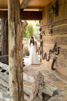 4f6dcaf24622 Bride First look, The Barn Event Center of the Smokies, Rustic wedding,  Bride peeking around a corner, Jaclyn Paige Photography