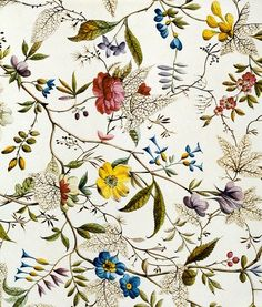 Image of flower fabric design, by william kilburn. england, late century by V&A Images Motifs Textiles, Textile Patterns, Textile Prints, Flower Patterns, Print Patterns, Fashion Patterns, Deco Floral, Motif Floral, Fabric Wallpaper
