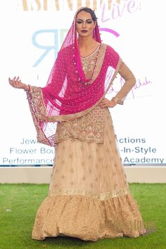 Hot PInk Cream Bridal Lengha gown RDC-INDIAN-PAKISTANI-WEDDING-FASHION