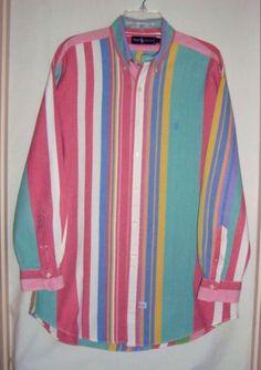 RALPH-LAUREN-Oxford-Multi-Color-Striped-Long-Sleeve-Mens-Shirt-Size-XL