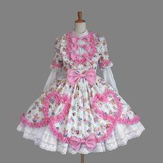 Pink and white bow cute sweet Lolita dress Kawaii Fashion, Lolita Fashion, Cute Fashion, Star Fashion, Baby Girl Dresses, Baby Dress, Cute Dresses, Cheap Dresses, Lolita Mode