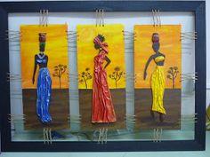 Les presento un triptico de africanas que realizó MARIANA, en mi taller estan todas contagiadas con este tipo de cuadros por eso van a ve... African Art Paintings, Tribal African, African Sculptures, Africa Art, Decorative Signs, Gourd Art, African Design, Mural Art, Tribal Art
