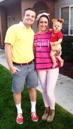 Family costume. Winnie the Pooh, Piglet, and Christopher Robin.