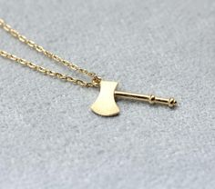 Axe charm pendant necklace in gold