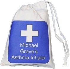 Personalised Blue Cross - Asthma Inhaler & Spacer bag - XS drawstring bag -EMPTY