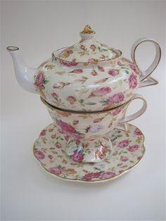 chintz tea-for-one set