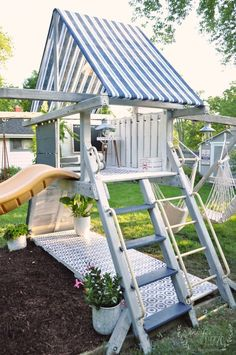 Playset Makeover Reveal - Jennifer Rizzo - Jen Rizzo - Re-Wilding Backyard Playset, Backyard Playground, Backyard For Kids, Kids Playset Outdoor, Backyard Ideas, Kids Playsets, Outdoor Playhouses, Outdoor Fun, Outdoor Spaces