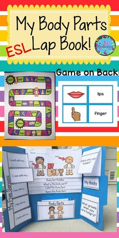 """ESL Help make your English Language Learner's transition into your classroom easier by learning Body Parts vocabulary! This resource can be used for making a lap book or as an interactive notebook! Includes: Cover Flip book of """"My Body"""" Flap book of """"My Five Senses"""" 22 body parts vocabulary and pictures Flaps for 2 questions Board game"""