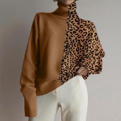 Modieuze effen kleur geplooide off-shoulder jumpsuit met wijde pijpen - Vestido estampado - damenmode Sweater Weather, Long Sleeve Sweater, Men Sweater, Loose Sweater, Brown Sweater, Collar Designs, Casual Sweaters, Women's Sweaters, Fashion Colours