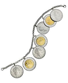 I love this--old Italian coins made into a bracelet. Giani Bernini Sterling Silver and Gold Over Sterling Silver Bracelet, Coin Bracelet - Bracelets - Jewelry & Watches - Macy's Weird Jewelry, Coin Jewelry, Beaded Jewelry, Jewelry Watches, Handmade Jewelry, Vintage Gold Rings, Coin Design, Coin Bracelet, Giani Bernini