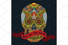 Day Of The Dead sugar Skull mexican decoration vector tattoo, skeleton hand drown illustration with - Illustrations - 1