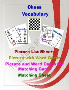 """Chess Pieces Vocabulary Word Cards, Matching Game, Lists, and Matching Worksheet from Tiffany Brodsky on TeachersNotebook.com -  (20 pages)  - An enjoyable way to introduce unique vocabulary to younger students who want to know about """"older"""" games."""