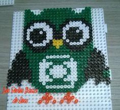 Green Hootie hama perler beads by Jessica Bartelet - Les perles Hama de Jess