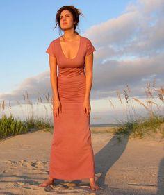 Organic TapRoot Long Dress - ( light hemp lycra) - organic hemp dress