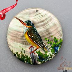 HAND PAINTED BIRD NATURAL MOP MOTHER OF PEARL SHELL NECKLACE PENDANT ZL3005836 #ZL #PENDANT