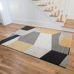 Well Woven Rosa Gold/Gray Rug   Wayfair Yellow Area Rugs, Grey Rugs, Home Decor Styles, Rugs Online, Contemporary Design, Rug Size, Mid-century Modern, Kids Rugs, Abstract