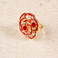 MISS A :: No.1 Accessory Shop :: RINGS :: Color :: Enamel Rose Crystal Ring