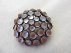 Saphiret Glass Button Brooch
