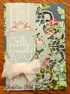 Sympathy card that I made with Anna Griffin pink and gray metallic cardstock,  AG Pretty Patterns A7, AG Decorative Edge Cut and Emboss die, AG Lace Trimmings die, AG Mix and Match embossing sentiment, AG Woven Diamonds embossing border sanded, handmade bow from sheer pink ribbon #AnnaGriffin #Cuttlebug
