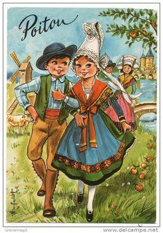 Cp Poitou - ( Couple D'enfants En Costumes ) Illustrateur Noel Dufourt - Obl. 1988 (Gandon 2f Vert Roulette)
