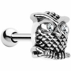 Silver 925 Clear Gem Eyes Owl in Tree Cartilage Earring | Body Candy Body Jewelry