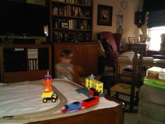 Horsey ride (note the blur as he gallops by...)