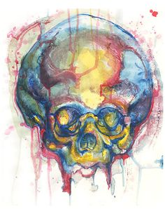 Skull painting, skull print, acrylic painting, skull drawing, skull art, primary colors, red blue and yellow, bright colored skull, anatomy art, anatomical art