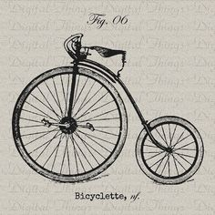 Vintage Bike Bicycle Cycle French Digital Download for Iron on Transfer Fabric Pillows Tea Towels DT1108 on Etsy, $1.00