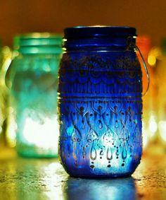 Mason Jar Lantern #henna #handpainted #upcycled #votive