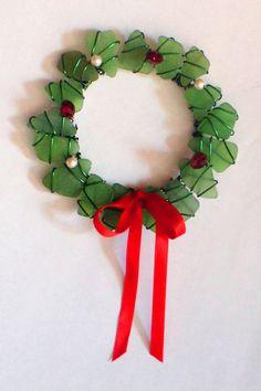 Sea Glass Suncatcher Wreath or Ornament for the Christmas season