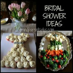 Bridal Shower ideas including menu, decorations, theme, game, bridal gown cake and bridal gown veggie plate!