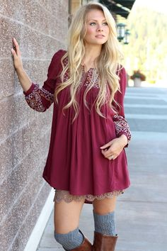 A look we love: Peasant blouse dress with lace peek-a-boo slip underneath  Styles available only at LUX
