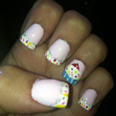 Birthday nails. Cuppycakes
