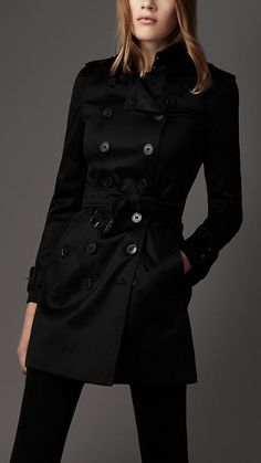 Burberry Mid-Length Cotton Blend Trench Coat